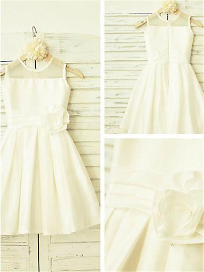 Modern Tea-length A-Line/Princess Flower Girl Dresses Scoop Neck Taffeta Sleeveless (010211985)