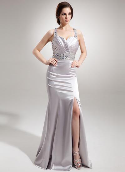 Trumpet/Mermaid Sweetheart Charmeuse Sleeveless Watteau Train Ruffle Beading Split Front Evening Dresses (017016338)