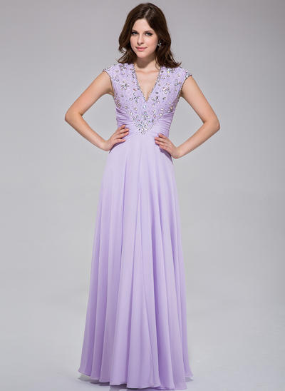 Chiffon Sleeveless A-Line/Princess Prom Dresses V-neck Ruffle Lace Beading Sequins Floor-Length (018025512)