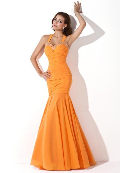 Trumpet/Mermaid Halter Chiffon Sleeveless Floor-Length Ruffle Beading Sequins Evening Dresses (017200369)