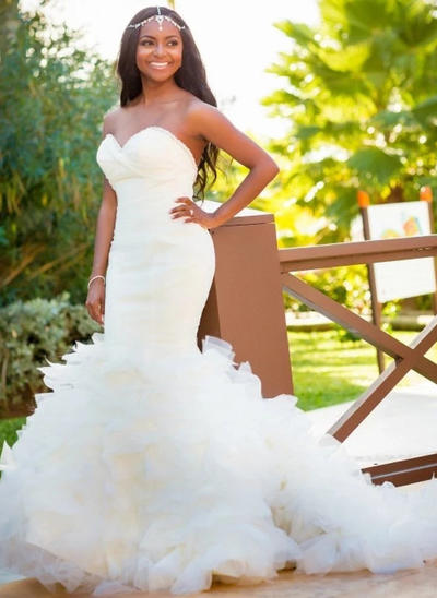 Fashion Court Train Trumpet/Mermaid Wedding Dresses Sweetheart Organza Sleeveless (002147939)