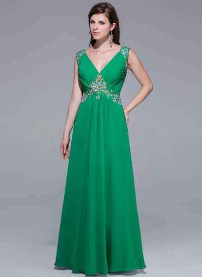 Chiffon Sleeveless A-Line/Princess Prom Dresses V-neck Ruffle Beading Floor-Length (018025510)