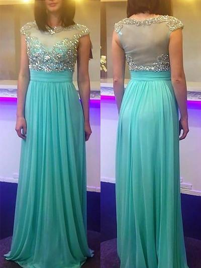 Chiffon Sleeveless A-Line/Princess Prom Dresses Scoop Neck Beading Sweep Train (018148481)