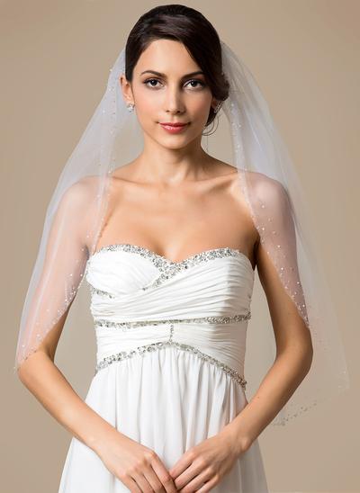 Elbow Bridal Veils Tulle One-tier Classic With Beaded Edge Wedding Veils (006151788)