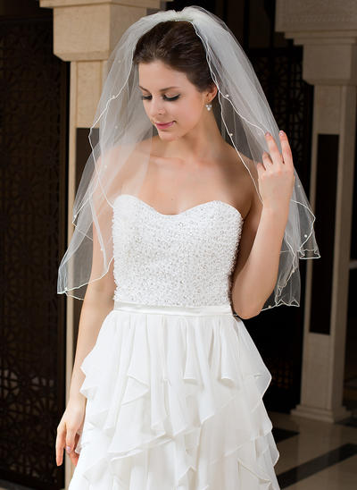 Elbow Bridal Veils Tulle Two-tier With Pencil Edge With Faux Pearl Wedding Veils (006151183)