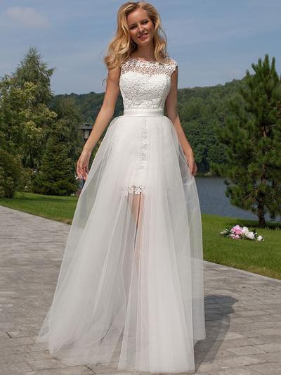 Modern Floor-Length A-Line/Princess Wedding Dresses Scoop Tulle Lace Sleeveless (002144817)