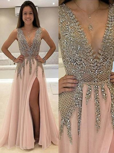 A-Line/Princess V-neck Chiffon Sleeveless Floor-Length Beading Split Front Evening Dresses (017216925)