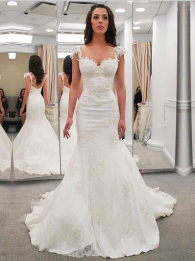 Elegant Chapel Train Trumpet/Mermaid Wedding Dresses Sweetheart Lace Sleeveless (002144914)