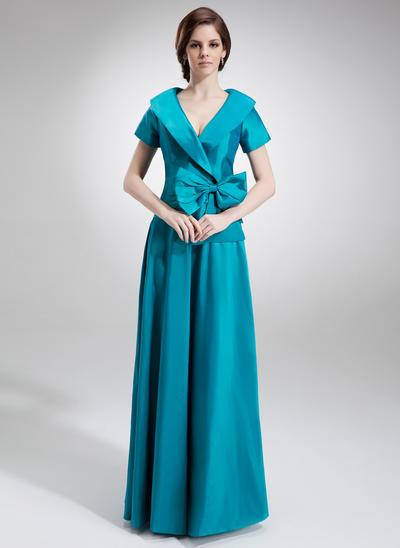A-Linie/Princess-Linie V-Ausschnitt Taft Kurze Ärmel Bodenlang Rüschen Schleife(n) Kleider für die Brautmutter (008006023)