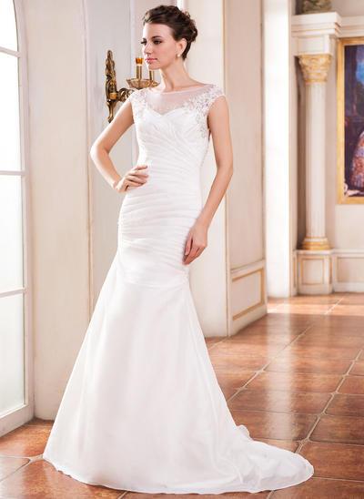 Chic Sweep Train Trumpet/Mermaid Wedding Dresses Scoop Taffeta Sleeveless (002210522)