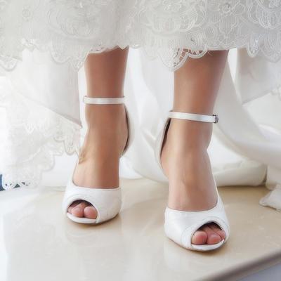 Women's Peep Toe Pumps Sandals Dyeable Shoes Stiletto Heel Lace Satin Yes Wedding Shoes (047208586)