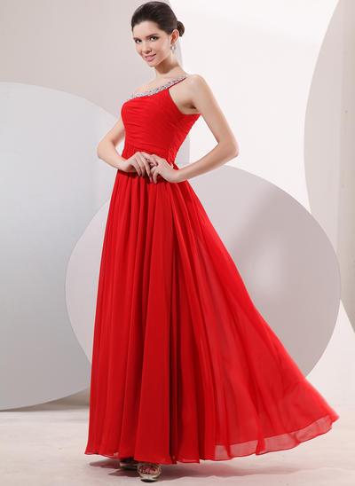 A-Line/Princess One-Shoulder Chiffon Sleeveless Floor-Length Ruffle Beading Evening Dresses (017014052)