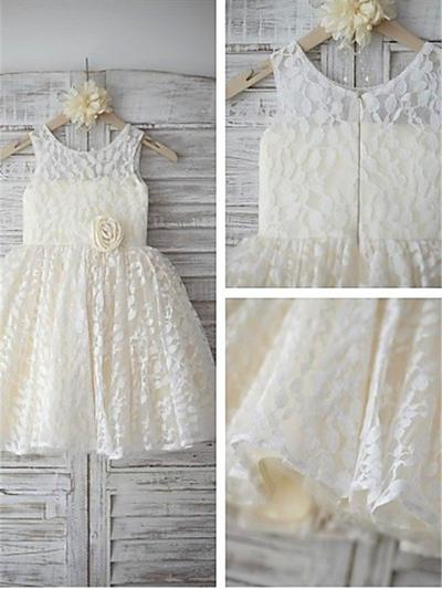 Simple Tea-length A-Line/Princess Flower Girl Dresses Scoop Neck Lace Sleeveless (010212022)