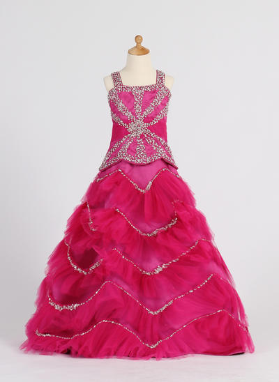 Beautiful Floor-length Ball Gown Flower Girl Dresses Straps Satin/Tulle Sleeveless (010007372)