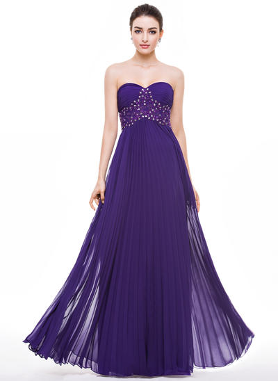 Chiffon Sleeveless A-Line/Princess Prom Dresses Sweetheart Beading Appliques Lace Sequins Pleated Floor-Length (018056790)
