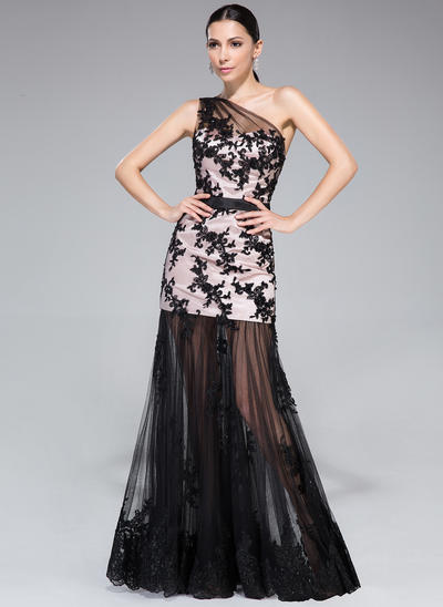 Charmeuse Sleeveless Trumpet/Mermaid Prom Dresses One-Shoulder Ruffle Appliques Lace Sequins Floor-Length (018210552)