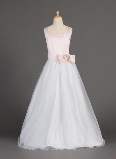 Flattering Floor-length A-Line/Princess Flower Girl Dresses Scoop Neck Organza/Satin Sleeveless (010002160)