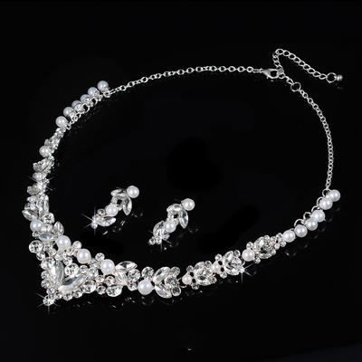 Jewelry Sets Alloy/Rhinestones Lobster Clasp Pierced Ladies' Wedding & Party Jewelry (011167259)