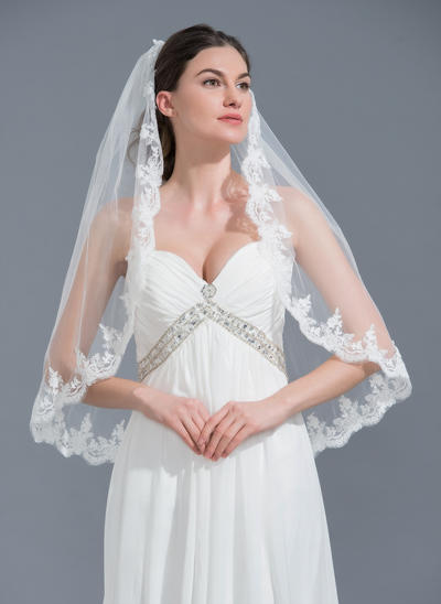 Elbow Bridal Veils Tulle One-tier Classic With Lace Applique Edge Wedding Veils (006152226)