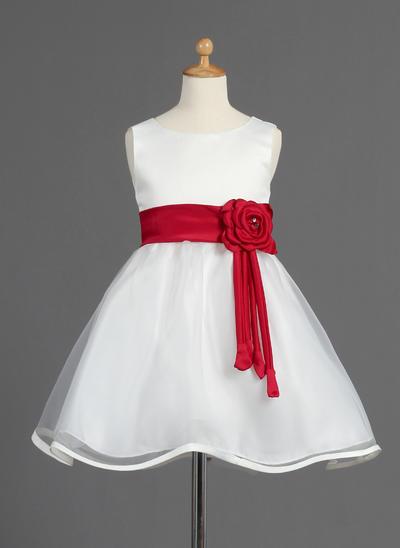 Delicate Knee-length A-Line/Princess Flower Girl Dresses Scoop Neck Organza/Satin Sleeveless (010014595)