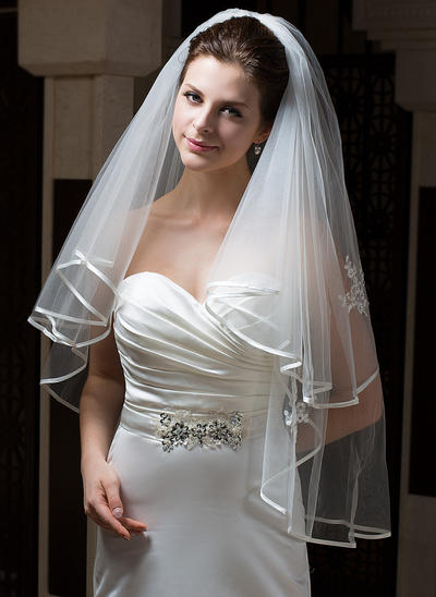 Fingertip Bridal Veils Tulle Two-tier Angel cut/Waterfall/Cascade With Ribbon Edge Wedding Veils (006151078)
