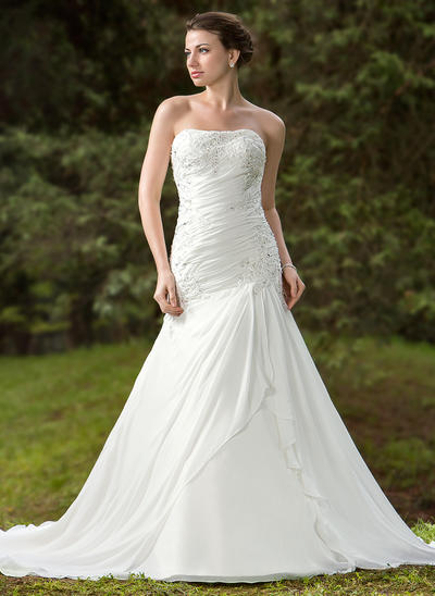 Sexy Chapel Train Trumpet/Mermaid Wedding Dresses Sweetheart Chiffon Satin Sleeveless (002196859)