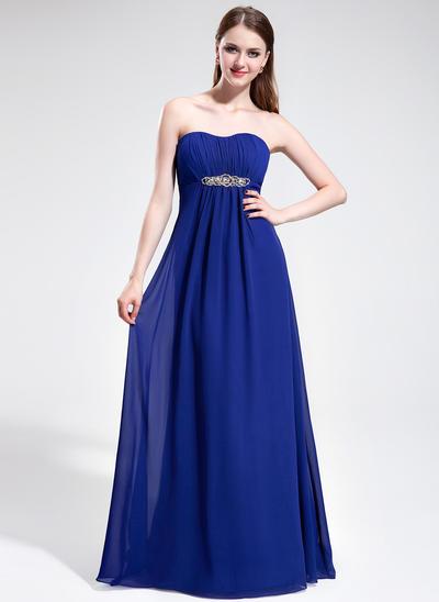 Chiffon Sleeveless Empire Prom Dresses Sweetheart Ruffle Beading Sweep Train (018025595)