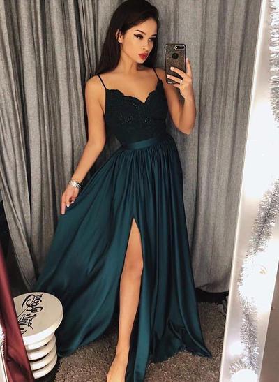 Sleeveless A-Line/Princess Prom Dresses V-neck Lace Floor-Length (018211730)