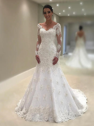 Simple Chapel Train Trumpet/Mermaid Wedding Dresses V-neck Lace Long Sleeves (002144911)