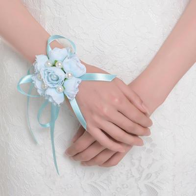 Armbandblume Rund Hochzeit Satin Die Farbe der Verzierungen als Bild Brautstrauß (123189104)