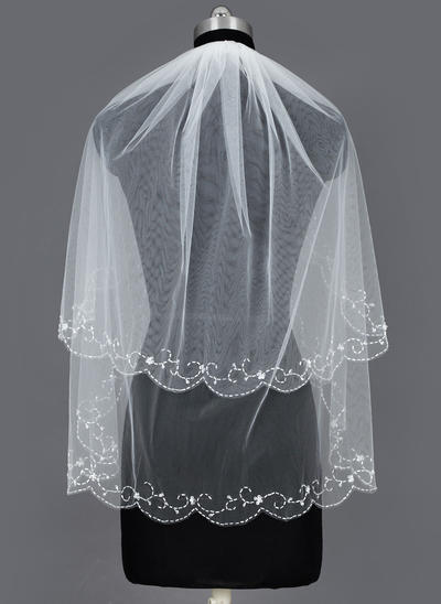 Elbow Bridal Veils Tulle Two-tier Classic With Beaded Edge Wedding Veils (006151366)