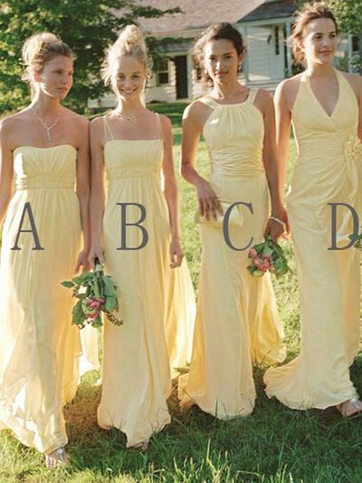 Chiffon Sleeveless A-Line/Princess Bridesmaid Dresses Sweetheart Halter Scoop Neck Square Neckline Ruffle Floor-Length (007145019)