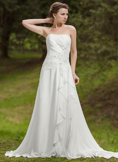 Sexy Chapel Train A-Line/Princess Wedding Dresses Sweetheart Chiffon Sleeveless (002211306)