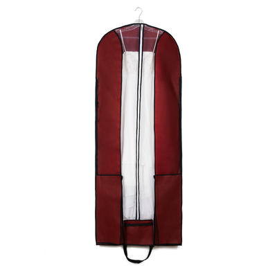 Garment Bags Dress Length Center Zip Nonwoven Fabric Burgundy Wedding Garment Bag (035192303)