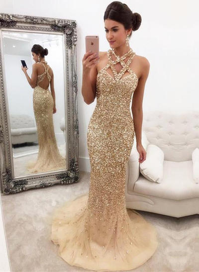 Trumpet/Mermaid V-neck Tulle Sleeveless Sweep Train Beading Sequins Evening Dresses (017146430)