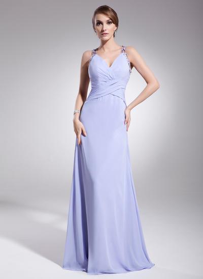 A-Line/Princess V-neck Chiffon Sleeveless Floor-Length Ruffle Beading Evening Dresses (017014573)