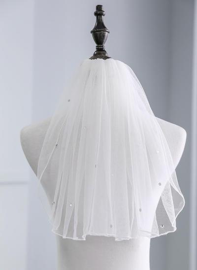 Schulterlange Schleier Tüll Einschichtig mit Strasssteine 13.78 in (35cm) Brautschleier (006152518)