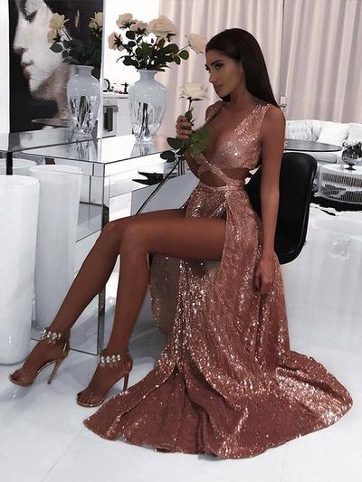 Sequined Sleeveless A-Line/Princess Prom Dresses V-neck Ruffle Floor-Length (018218141)