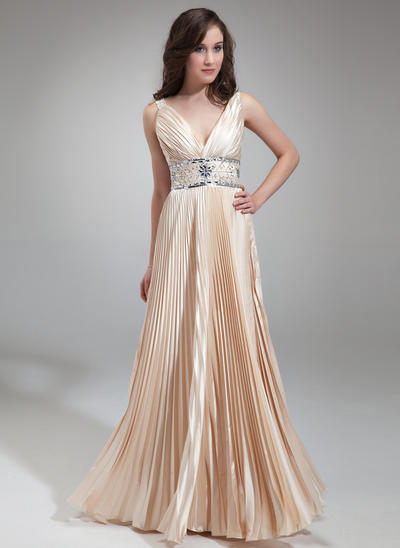 A-Line/Princess V-neck Charmeuse Sleeveless Floor-Length Beading Pleated Evening Dresses (017018813)