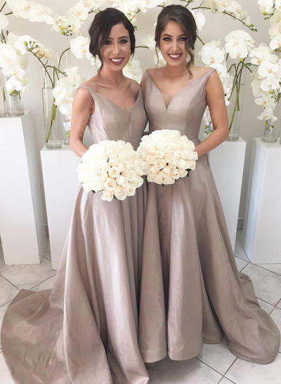 Charmeuse Sleeveless A-Line/Princess Bridesmaid Dresses V-neck Ruffle Sweep Train (007211683)