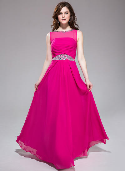 Chiffon Sleeveless A-Line/Princess Prom Dresses Scoop Neck Ruffle Beading Floor-Length (018041169)