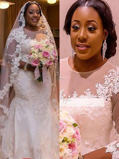 Delicate Court Train Trumpet/Mermaid Wedding Dresses Scoop Tulle 3/4 Length Sleeves (002210857)