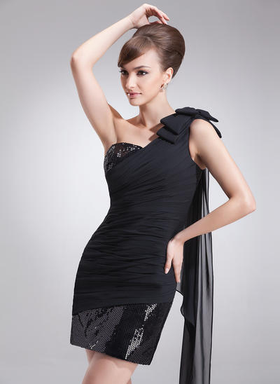 Sheath/Column One-Shoulder Chiffon Sequined Sleeveless Short/Mini Ruffle Bow(s) Cocktail Dresses (016008379)
