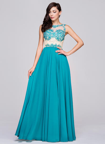 Chiffon Sleeveless A-Line/Princess Prom Dresses Scoop Neck Beading Appliques Lace Sequins Floor-Length (018210626)