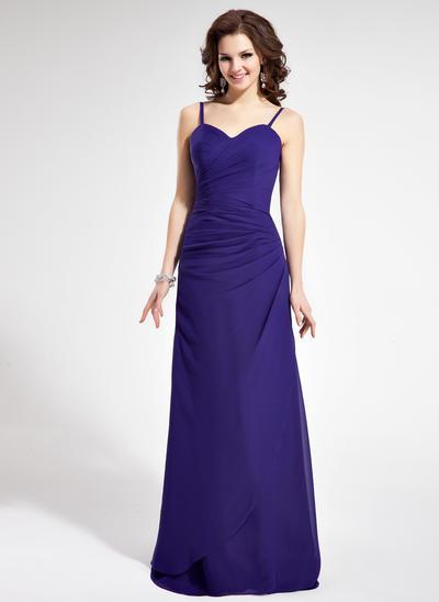 Chiffon Sleeveless Sheath/Column Bridesmaid Dresses Sweetheart Ruffle Floor-Length (007021815)