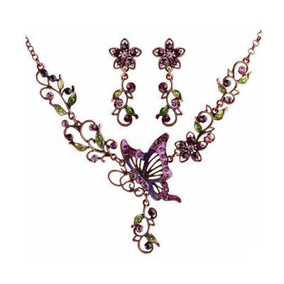 Jewelry Sets Alloy/Czech Stones/Coloured Glaze Lobster Clasp Pierced Ladies' Wedding & Party Jewelry (011164598)