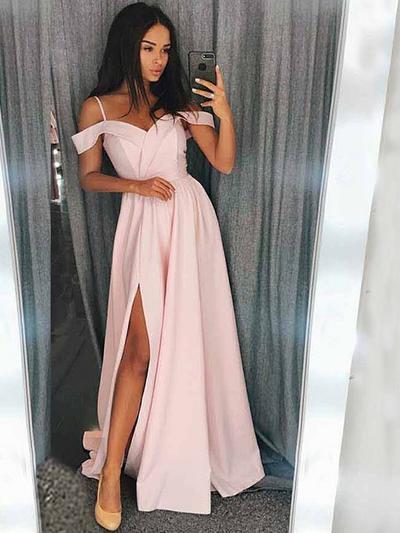Charmeuse Sleeveless A-Line/Princess Prom Dresses Sweetheart Ruffle Split Front Sweep Train (018218091)