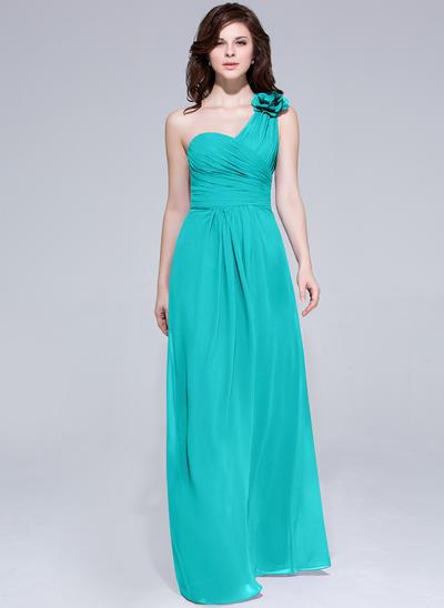 Chiffon Sleeveless A-Line/Princess Bridesmaid Dresses One-Shoulder Ruffle Flower(s) Floor-Length (007062998)