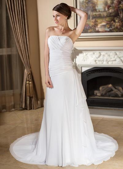 Gorgeous Court Train A-Line/Princess Wedding Dresses Sweetheart Chiffon Sleeveless (002196872)
