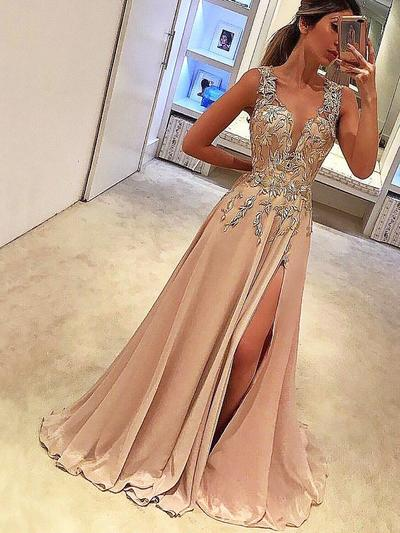 Sleeveless A-Line/Princess Prom Dresses V-neck Appliques Lace Floor-Length (018211010)